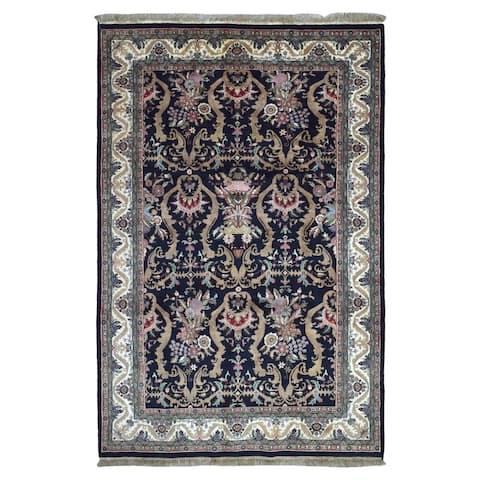 FineRugCollection Hand Knotted Fine Tabriz Navy Wool Oriental Rug