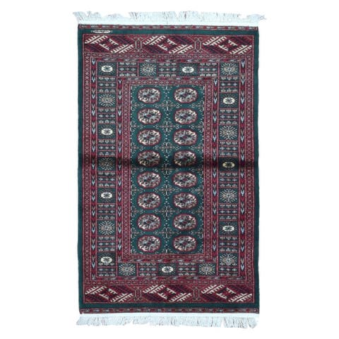 FineRugCollection Hand Knotted Signed Bukhara Red Wool Oriental Rug