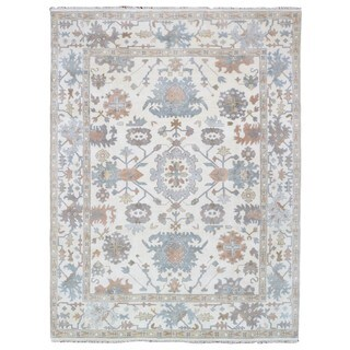 FineRugCollection Hand Knotted Oushak Cream Wool Oriental Rug (9' x 11'10)
