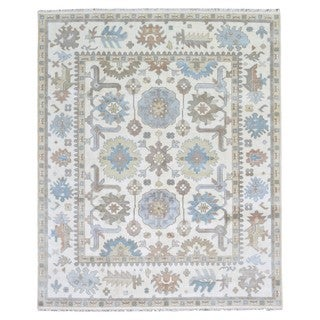 FineRugCollection Hand Knotted Oushak Cream Wool Oriental Rug (7'10 x 10'1)