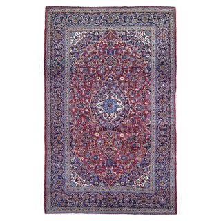 FineRugCollection Hand Knotted Semi-Antique Persian Kashan Red Wool Oriental Rug (7'1 x 11'2)