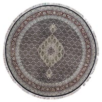 FineRugCollection Hand Knotted Round Mahi Tabriz With Silk Black Wool Oriental Round Rug (8'2 x 8'