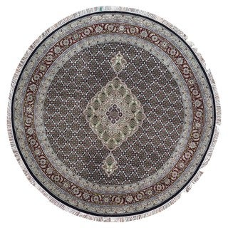 FineRugCollection Hand Knotted Round Mahi Tabriz With Silk Black Wool Oriental Round Rug - 8'2 x 8'
