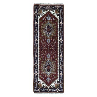 FineRugCollection Hand Knotted Serapi Burgundy Wool Oriental Runner Rug (2' x 5'10)