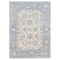 FineRugCollection Hand Knotted Oushak Beige Wool Oriental Rug