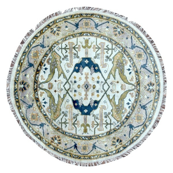 Fine Round Persian Bidjar Area Rug Hand Knotted Wool And: Shop FineRugCollection Hand Knotted Oushak Beige Wool