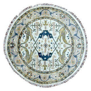 Fine Rug Collection Hand Knotted Oushak Beige Wool Oriental Round Rug (6' x 6')