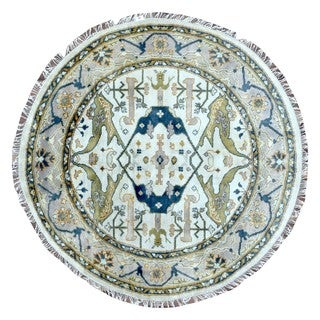 FineRugCollection Hand Knotted Oushak Beige Wool Oriental Round Rug - 6' x 6'