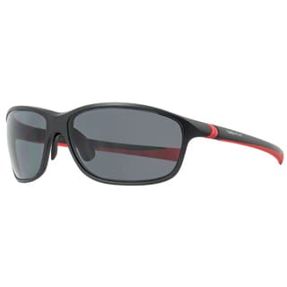 Tag Heuer 27-degree Matte Black and Red Plastic Frame and Grey Lens Men's Sunglasses