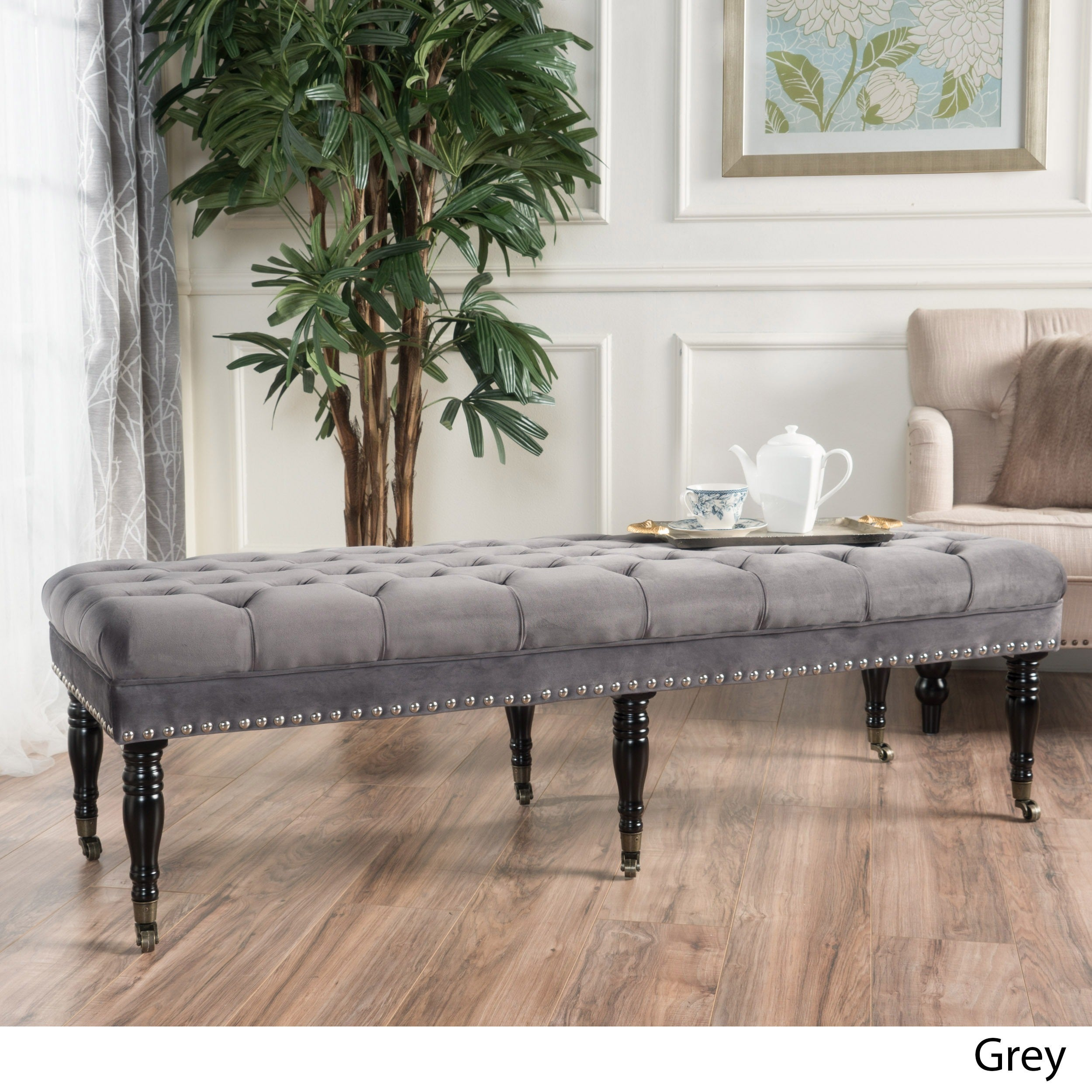 tufted on size cozy gray full interior contemporary benches ideas bedroom potted design plant elegant images dreaded bench furniture of with storage