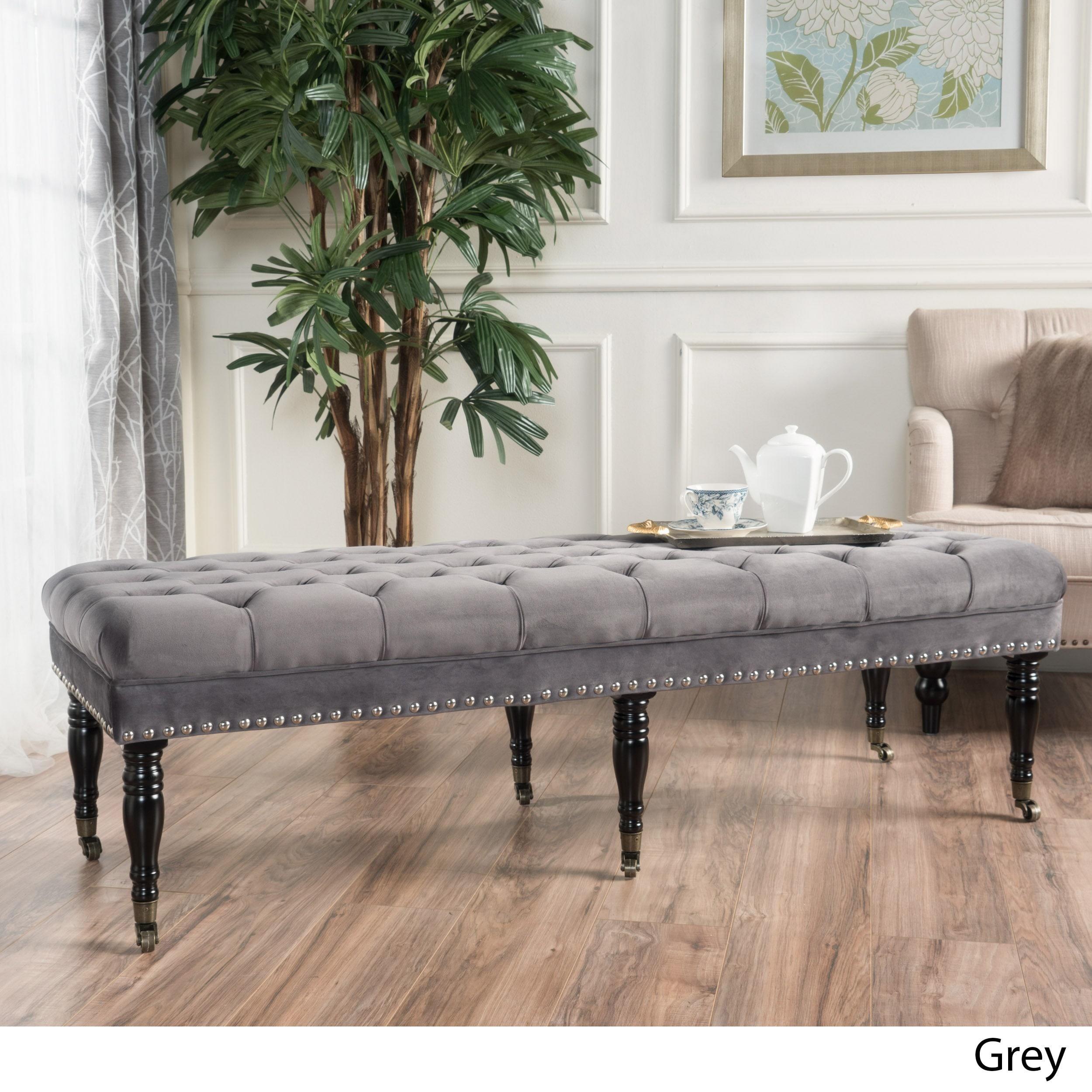 seat gray bench furniture customize moderne ryan silver frame vanity stool accent contemporary custom inch hollywood regency velvet tufted modern