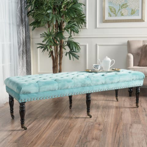 Hastings Tufted Velvet Fabric Ottoman Bench with Casters by Christopher Knight Home