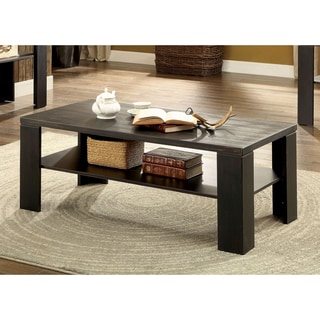 Furniture of America Howil Rustic Open Shelf Antique Black Coffee Table