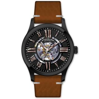 Stuhrling Original Men's Automatic Skeleton Brown Leather Strap Watch