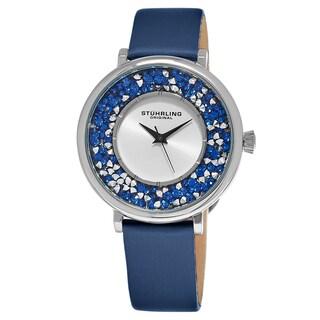 Stuhrling Original Women's Quartz Crystal Blue Satin/ Leather Strap Watch