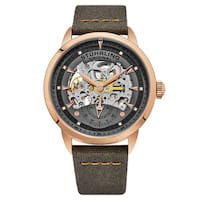 Stuhrling Original Men's Automatic Skeleton Grey Canvas and Orange Genuine Leather Strap Watch