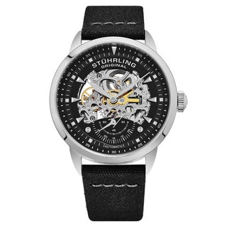Stuhrling Original Men's Automatic Skeleton Black Canvas Strap Watch
