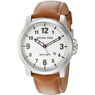 Michael Kors Men's MK8531 Paxton White Dial Brown Leather Watch