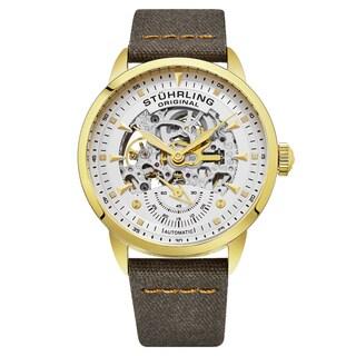 Stuhrling Original Men's Automatic Skeleton khaki Canvas Strap Watch