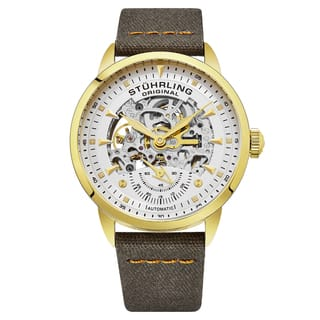 Stuhrling Original Men's Automatic Skeleton khaki Canvas Strap Watch|https://ak1.ostkcdn.com/images/products/14455143/P21017791.jpg?impolicy=medium