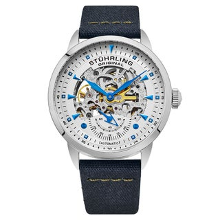 Stuhrling Origjnal Men's Automatic Skeleton Navy Blue Canvas Strap Watch