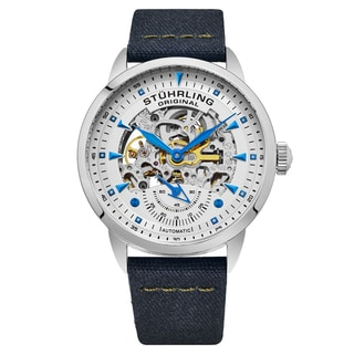 Stuhrling Origjnal Men's Automatic Skeleton Navy Blue Canvas Strap Watch