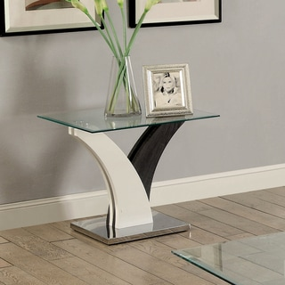Furniture of America Quap Contemporary Grey Metal Glass Top End Table
