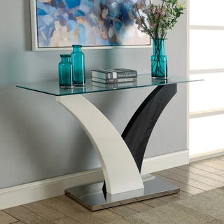 Furniture of America Quap Contemporary Grey Glass Top Sofa Table