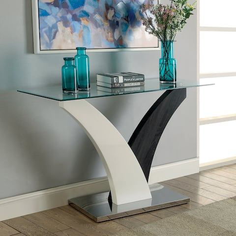 Furniture of America Quap Contemporary Grey Glass Top Sofa Table