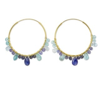 Handcrafted Gold Overlay 'Azure Serenade' Multi-gemstone Earrings '(Thailand)