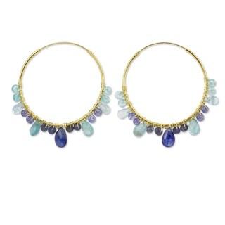 Handmade Gold Overlay 'Azure Serenade' Multi-gemstone Earrings '(Thailand)