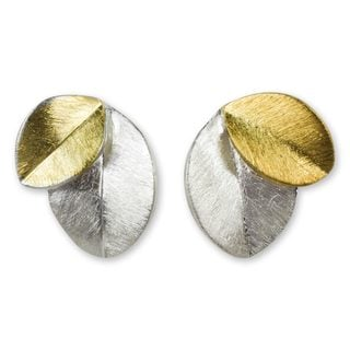 Handcrafted Gold Overlay Sterling Silver 'Sunlit Leaves' Earrings (Thailand)