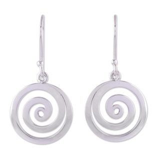 Handcrafted Sterling Silver 'Andean Whirlwind' Earrings (Peru)