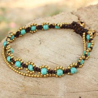Handmade Brass 'Serene Sky' Calcite Bracelet (Thailand)