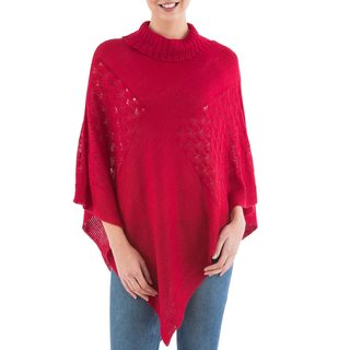 Handcrafted Knit 'Red Reality Squared' Poncho (Peru)