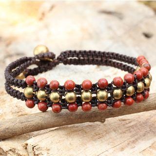 Handmade Brass 'Crimson Joy' Jasper Bracelet (Thailand)