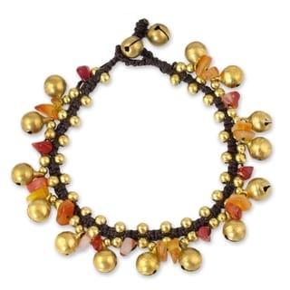 Handcrafted Brass 'Joyous Bells' Carnelian Bracelet (Thailand)