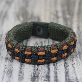 Men's Handcrafted Recycled 'Green Ananse Web' Bracelet (Ghana)