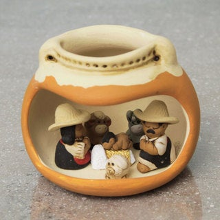 Handcrafted Ceramic 'Vessel Born' Nativity Scene Sculpture (Peru)