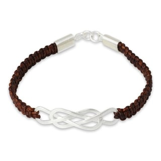 Handcrafted Leather Sterling Silver 'Forever Entwined' Bracelet (Thailand)