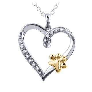 ASPCA Tender Voices Sterling Silver and 10k Yellow Gold White Diamond Heart with Paw Pendant
