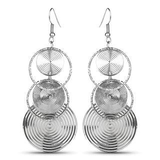Liliana Bella Silvertone Rings-style Fashion Dangle Earrings