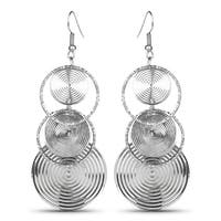 Liliana Bella Silvertone Rings-style Fashion Dangle Earrings