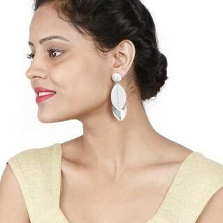 Liliana Bella Silver-colored Leaf-shaped Fashion Dangle Earrings