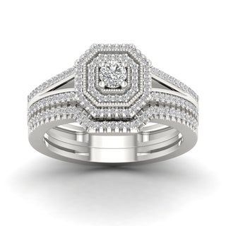 De Couer 1/2ct TDW Diamond Double Halo Bridal Set (H-I, I2)