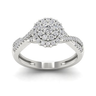 De Couer 1/2ct TDW Diamond Halo Engagement Ring - White