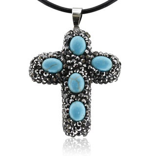 Turquoise and Crystal Reversible Cross Necklace With Black Leather Cord Chain, 18 Inches