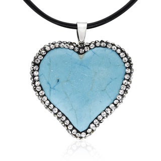 Turquoise and Crystal Heart Necklace With Black Leather Cord Chain, 18 Inches