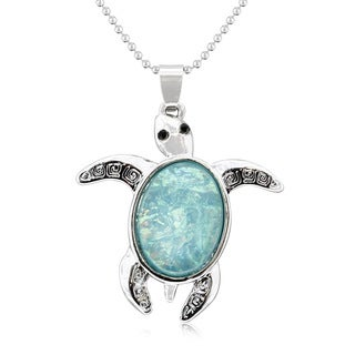 Sterling Silver Opal Turtle Necklace, 18 Inches