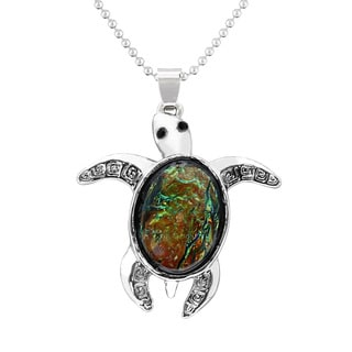 Sterling Silver Black Opal Turtle Necklace, 18 Inches